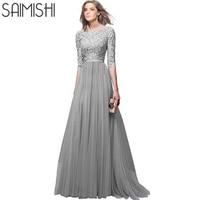 Saimishi Plus Rozmiar Lace Top Party Dress Lato Mody Wysokiej Talii Swing Sukienka Kobiety Fit flare Dress Maxi Sukienka 7 Kolory
