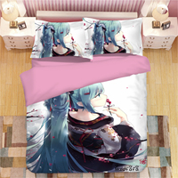 Mxdfafa Japanese Anime Miku Printed Duvet Cover Set 3D Bedding Set Luxury Comforter Bed Set with 1 Duvet Cover and 2 Pillowcase