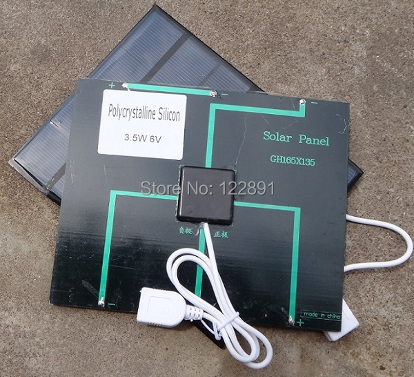 BUHESHUI 6V 3.5W Solar Panel Charger Solar Charger For Mobile Phone /Mobilbe Power Bank With USB 2pcs/lot Free Shipping