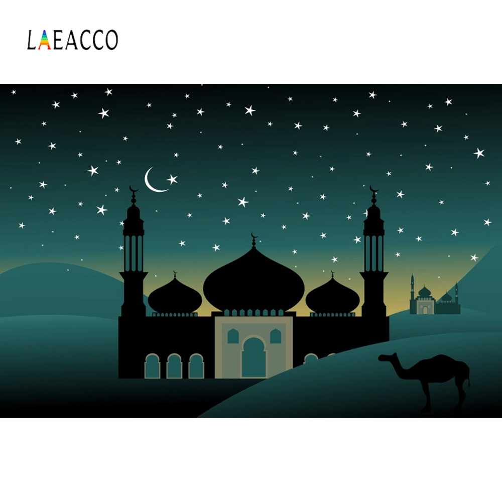 Laeacco Mosque Moon Night Muslim Mubarak Party Scene Photography Background Customized Photographic Backdrops For Photo Studio in Background from Consumer Electronics