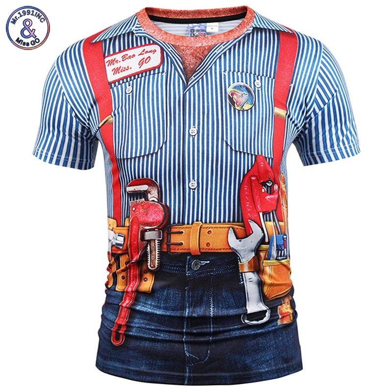 Mr.1991inc новая мода разработан футболка Для мужчин/Для женщин поддельные Двойка 3D футболка печати оснастки в полоску Рубашки для мальчиков лето Футболки