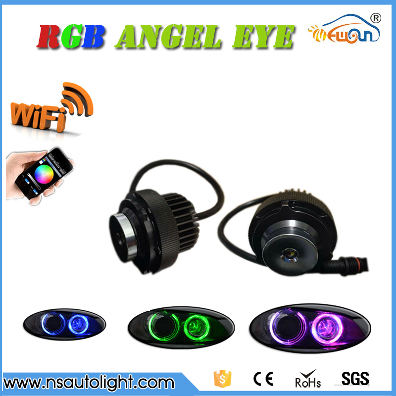 1 Set 2*12W 24W WIFI control LED Marker Angel Eyes  RGBW color change For BMW 5 Series E60 E61 LCI