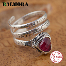 BALMORA New Fashion 100% 925 Sterling Silver Jewelry Red Corundum Romantic Rings for Women Lover Gift Free Shipping HGY20399