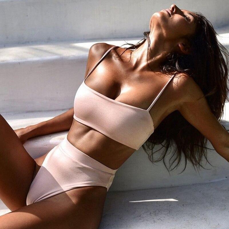 HTB1fJItKZfpK1RjSZFOq6y6nFXa0 High Waist Swimsuit 2018 Sexy Bikini Women Brazilian Pad Swimwear Push Up Bandeau Top Plus Size Bottom Bikini Set Bathing Suits