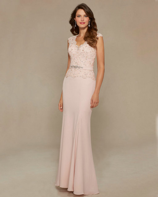 4fac8b59e666 Style 71334 Blush Satin Mother of Bride Dresses 2016 See Through Back Cap  Sleeve Lace Mother of the Bride Gowns 2016 Long