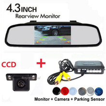3in1 Dual Core CPU 4 Sensores de Aparcamiento de Pantalla Distancia en 4.3 Pantalla con Cámara de visión Trasera Aparcamiento Monitor Del Espejo de Coche asistencia