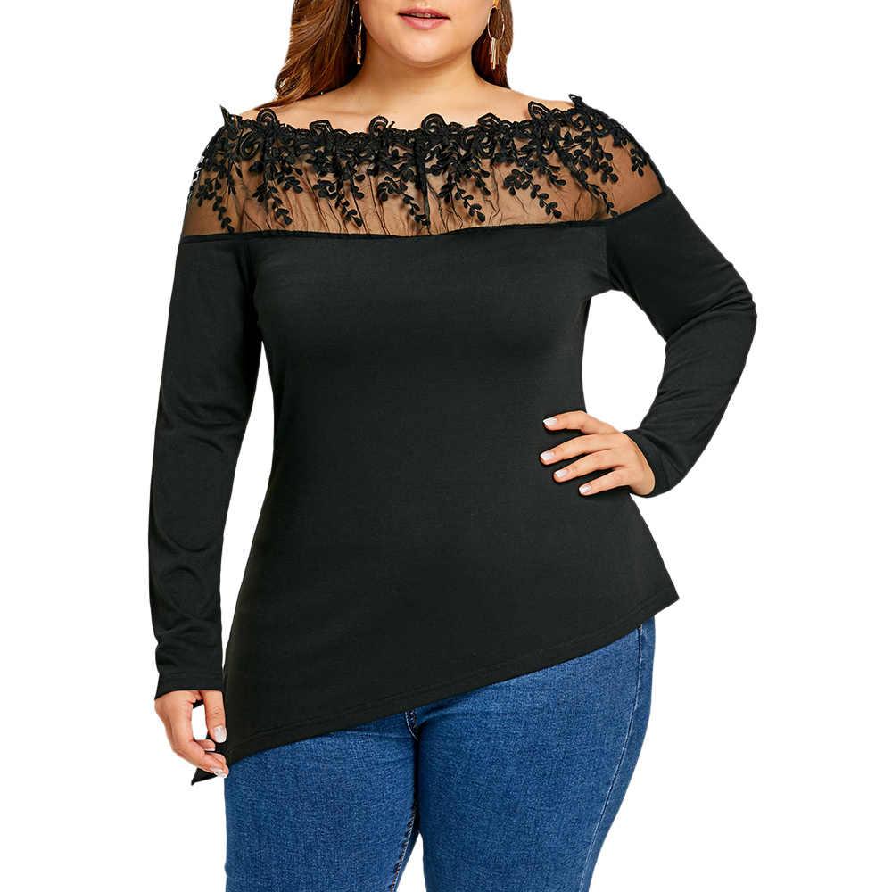 Gamiss/Большие размеры, прозрачная вышитая Асимметричная футболка с длинными рукавами, сексуальные футболки больших размеров, черная футболка больших размеров 5XL