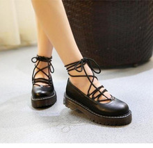 Fashion vintage 4cm heel vintage preppy style women casual thick sole work shoes