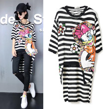 Summer Autumn designer women's dresses knitted sequined cartoon embroidery fashion cute irregular stripped dress NS527
