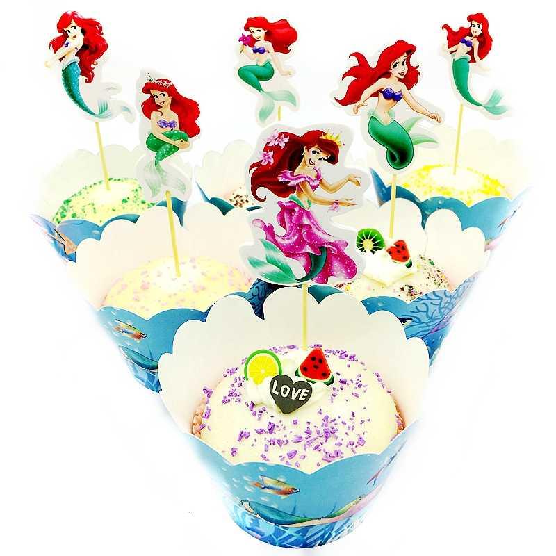 24 шт./лот русалка принцесса девушка обертки для кексов Торт Топперы Дети сувениры Baby Shower День рождения украшение для свадебного торта