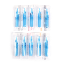 10pc 3/5/7/9/11R Blue Mixed Sterile Disposable Tattoo Machine Gun Nozzle Tips Needle Tube For Tattoo Gun Needle Ink Cup Grip Kit