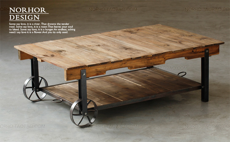 American Rural Retro Iron Wood Coffee Table With Wheels Industrial Loft  Living Room Tea Table Creative Parcel Shelf Rack In Coffee Tables From  Furniture On ...