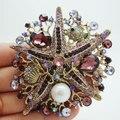 Estilo Vintage banhado a ouro Starfish pérola Pin broche de strass roxo pingente de cristal