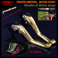 New Logo 3D design (Rhombus Hollow) Golden CNC Adjustable Motorcycle Brake Clutch Lever For Bajaj Pulsar 200 NS 200NS All years
