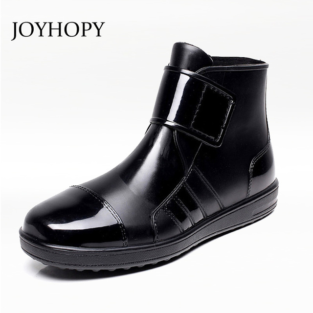 JOYHOPY PVC Waterproof Rainboots For Men Flat With Shoes Rain Boots Fashion Rubber Ankle Boots Buckle MB2006