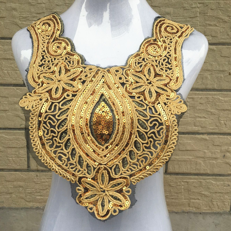 1pc Center Drop Heart Collar Sequins Floral Embroidered Applique Trim Decorated Lace Neckline Collars Sewing Paillettes Craft