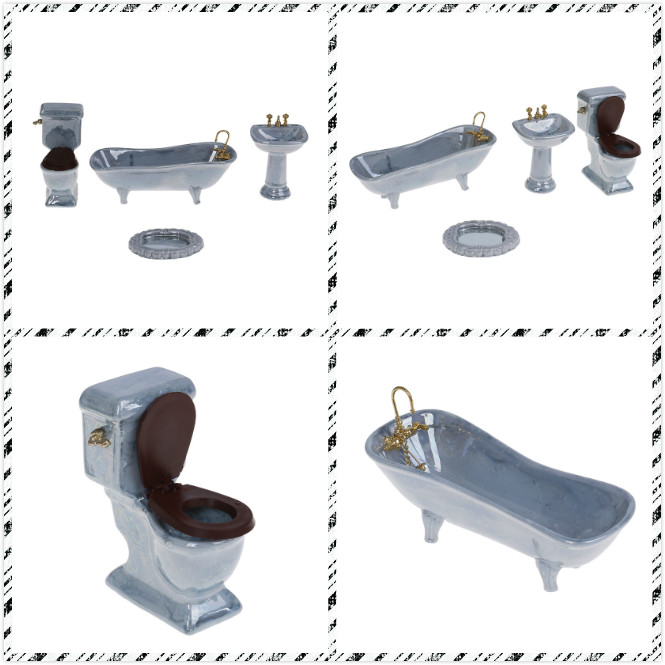 1//12 Dollhouse Miniature Furniture Porcelain Bathroom Set Toilet Bathtub Basin