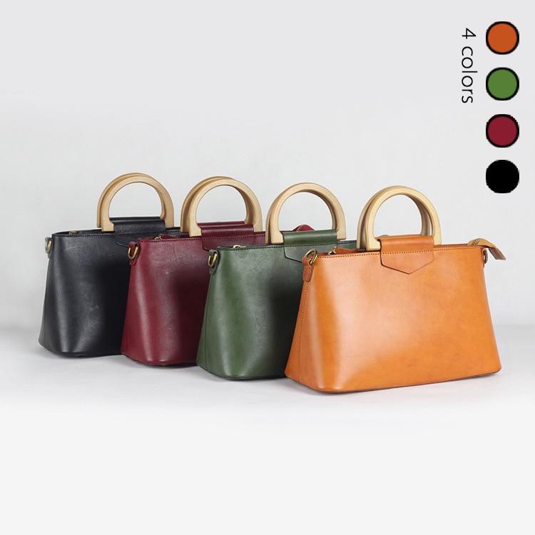 2018 Women Korea Retro Wooden Handle Handbag Flip Casual Shoulder Bag Diagonal Solid Color Vintage Bag