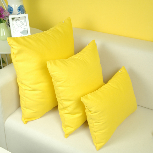 Exceptionnel 100% Cotton Yellow Cushion Cover For Sofa Seat Cushion Home Decor 45/55cm  Decorative