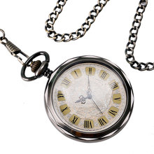 Classic Elegant Vintage Pendant Clock Men Women Open Face Mechanical Hand Winding Pocket Watch Exquisite Vintage Fob Chain Hour