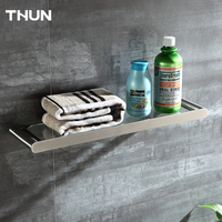 THUN Single Stainless Steel Glass Flat Roof Single Bathroom Shelf