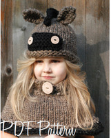 For 3 8 Lovely Fashion Ear Winter Windproof Hats And Scarf Set For Kids Crochet Headgear