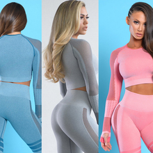 Vutru 2 piece yoga set workout clothes for women fitness gym clothing vital gym set long sleeve gym crop top