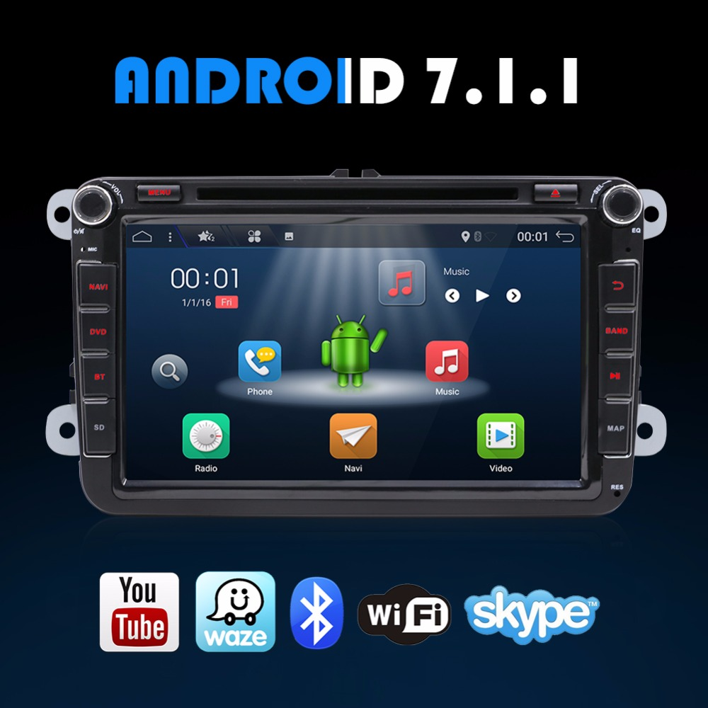 8 pouces Android 7.1.1 Quad Core VW Golf Polo Tiguan Voiture Radio CD DVD MP3 MP5 Lecteur GPS Navi Bluetooth WLAN 3g 4g Wifi USB SD AUX