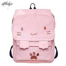 Women Backpacks Embroidery School Bag For Teenage Cute Canvas Backpack Cartoon Girls Casual Ears Large Bags Pink Mochila цены