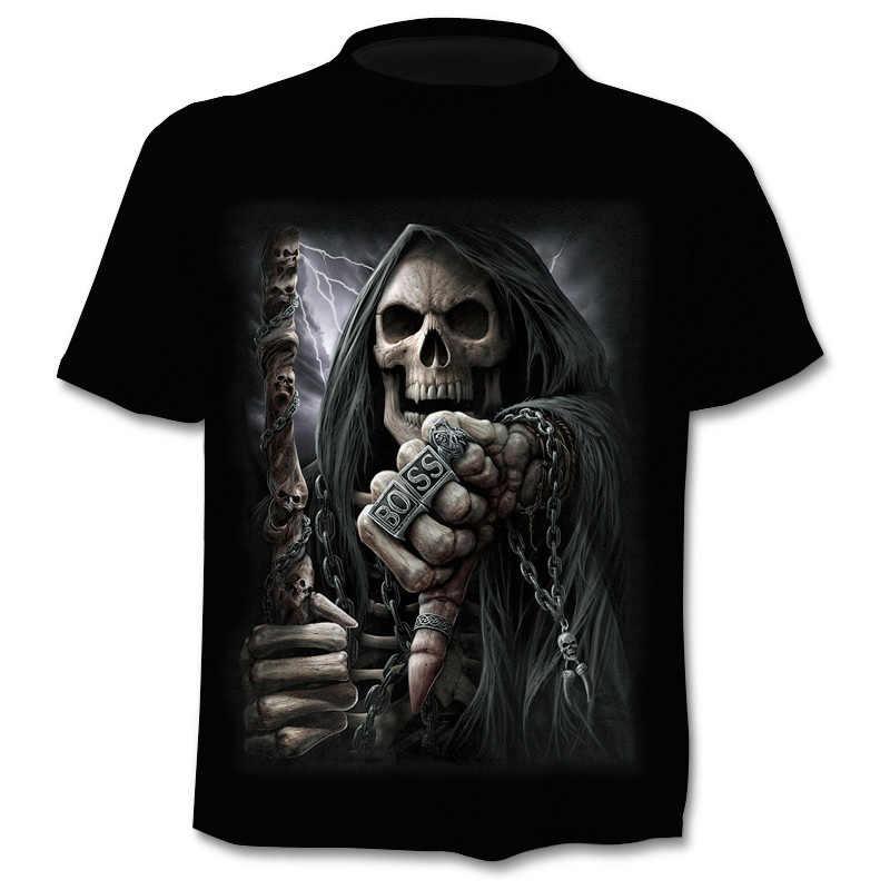 Мужская и женская летняя брендовая футболка с коротким рукавом 3D футболка с черепом футболка с дизайном на готическую тему ужас футболка с черепом классный топ бесплатная доставка