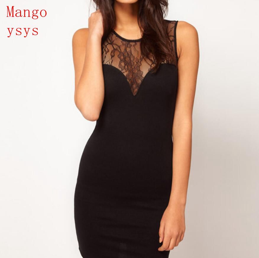 mango ysys 2018 new Women Summer Dress Slim Vestidos Vest Tank Dresses party night club lace o-neck mini sheath dress black