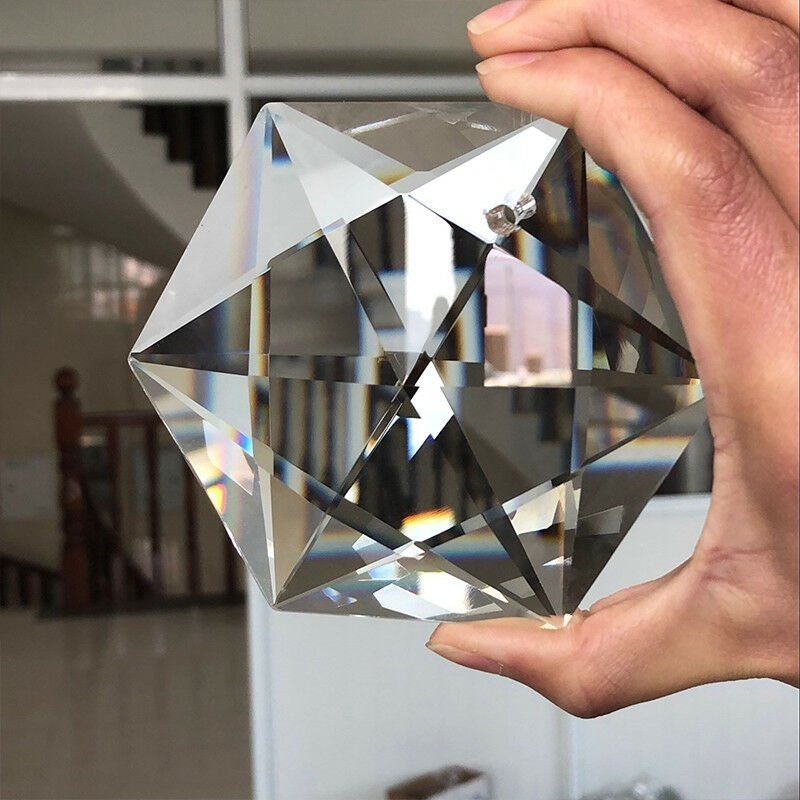 100MM Star Of David Tantrism Hexagram CRYSTAL Chandelier Glass Prism Pendant Judaism SUNCATCHER Yahadut Israel