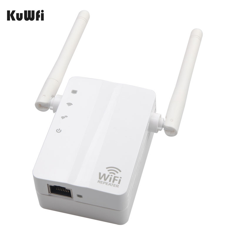 KuWFi Wireless N Wifi Repeater 802 11n b g Network Router Long Distance Wifi Expander 300Mbps 2dbi Antennas Signal Boosters in Wireless Routers from Computer Office