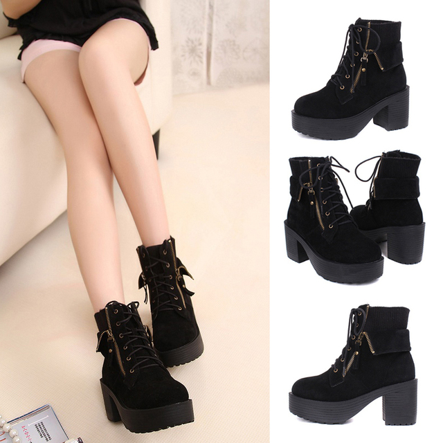 41ad7e2a00 Womens Black Vintage Zipper Chunky Heels Suede Lace Up Platform Ankle Boots  Shoes