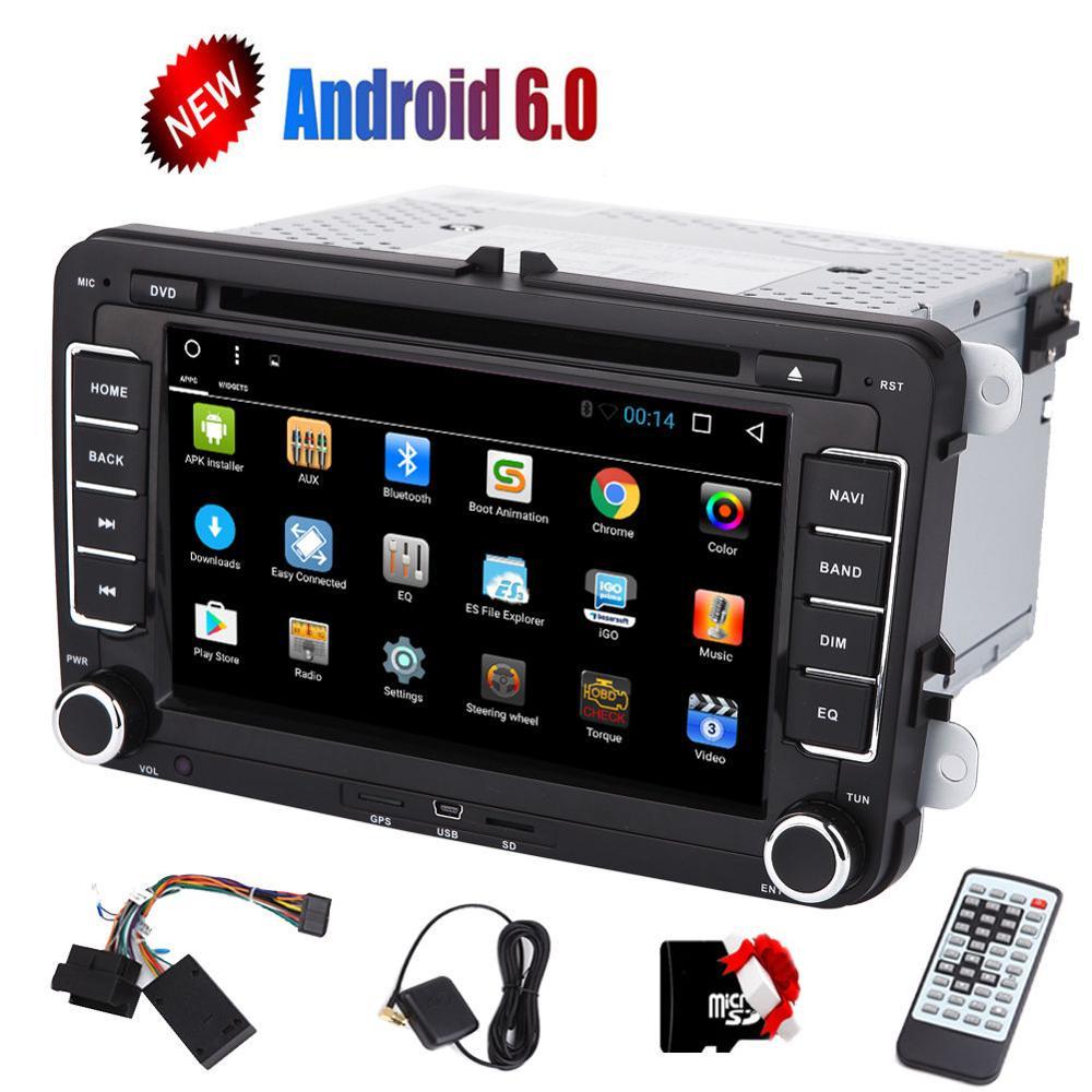 Android 6.0 Car Stereo HD DVD 2 DIN Radio GPS Nav For VW Volkswagen Jetta Passat