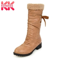 KemeKiss Size 34 44 Women Cold Winter Snow Boots With Thick Fur Inside Female Back Strap Half Short Winter Boots Warm Shoes