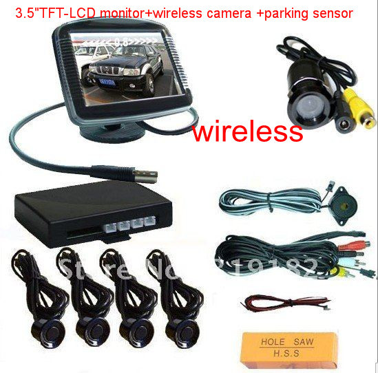 Wireless Video Parking Radar 4 Sensors system 4.3 inch Car Rear View Mirror Monitor + Rear View Car Camera Parking Assistance diykit wireless parking system waterproof parking radar sensor rear view car camera with 7 inch car rear view mirror monitor