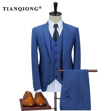 TIAN QIONG 100% Polyester Navy Blue Suit Men Slim Fit Leisure Business Wedding Dress Suits for Men Terno Masculino Tuxedo 3 Pcs