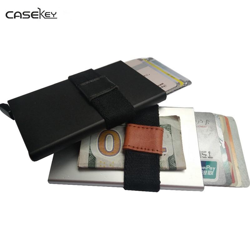 CaseKey Slim Aluminiun RFID Wallet Alloy Credit Card Holder Case Money Bank Card Holder Business Men Card Safe Cool Mini Purse