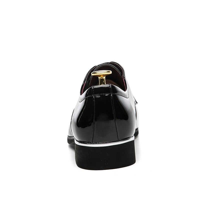 Zimnie Thương Hiệu Lưới Hoa Văn Nam Trọng Bằng Sáng Chế Da Thời Trang Cao Cấp Chú Rể Cưới Giày Nam Oxford ĐẦM DỰ TIỆC Giày