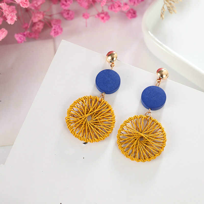2018 new temperament personality wild wooden circle dream catcher earrings jewelry wholesale