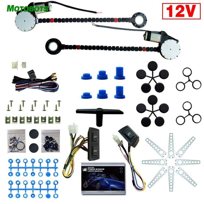 MOTOBOTS 1Set Car Auto Universal 2-Doors Electric Power Window Kits With 3pcs/Set Switches And Harness #AM902