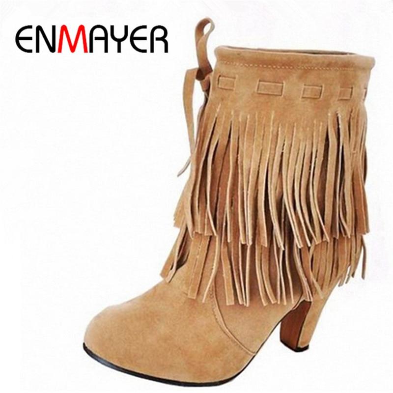 ENMAYER Αγκώνας Μπότες ΗΠΑ Μεγάλο μέγεθος 4-14 Δωρεάν αποστολή Χειμώνα Νέο Άφιξη Πινακίδες Υψηλή τακούνια Αντλία παπούτσια Fringed Suede Snow Boots