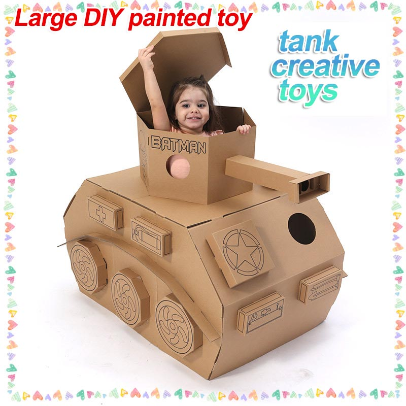 Cool tank large DIY coloring creative toy toy tank  Children's tent game house ctwj0780 creative toy diy toys drop shipping