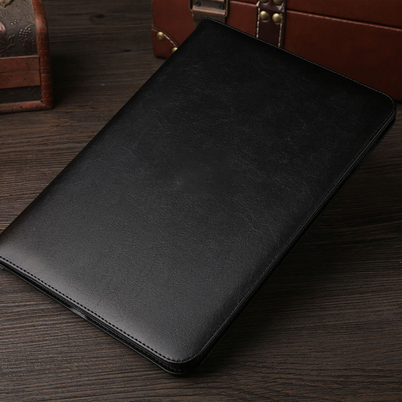 Black Leather retro style smart portfolio case for iPad 2018 9.7 inch (A1893, A1954)