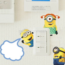DESPICABLE ME 2 minion switch stickers cartoon wall decor kid room Art decals home decoration Removable