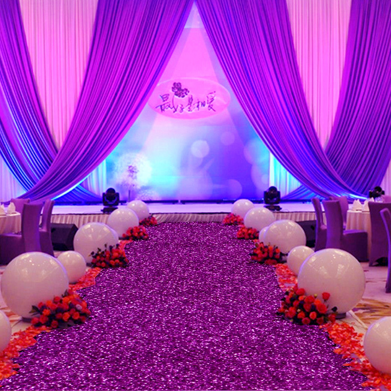 Purple wedding backdrop curtain with white swag 3x6m satin party new 10 mroll 12m wide shiny purple pearlescent wedding carpet t station aisle junglespirit Image collections
