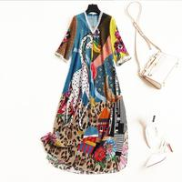 European and American women's fashion 2019 spring new style Cartoon printing Five point sleeve lace v neck Silk dress