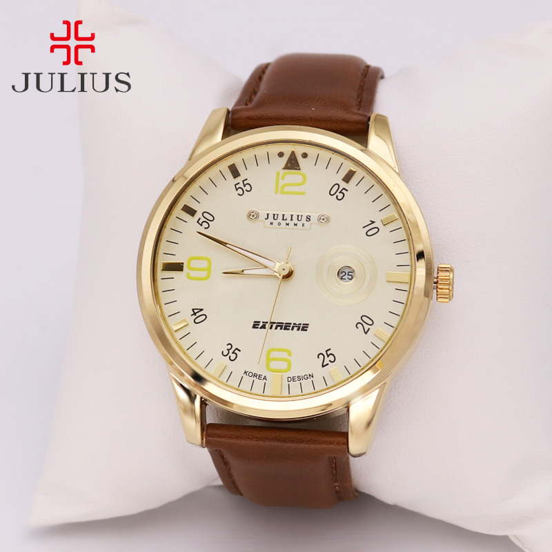 Julius Men's Homme Watch Quartz Hours Fine Fashion Clock Dress Retro Bracelet Band Leather Business Clock Concise Gift Box 003 xiniu retro wood grain leather quartz watch women men dress wristwatches unisex clock retro relogios femininos chriamas gift 01