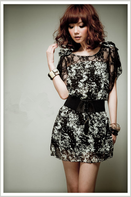 wholesale,fashion summer dress 2013,elegant korean style black lace floral printed 3XL large size dress,short sleeve,with a belt